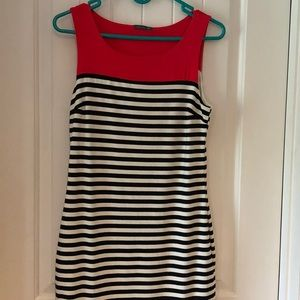 Navy and white stripe dress